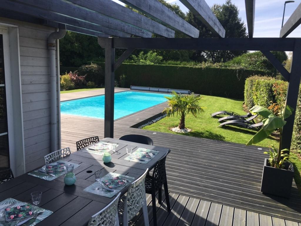Terrasse en Bois avec Pergola et Piscine  Bierville 76750  DJSLBois