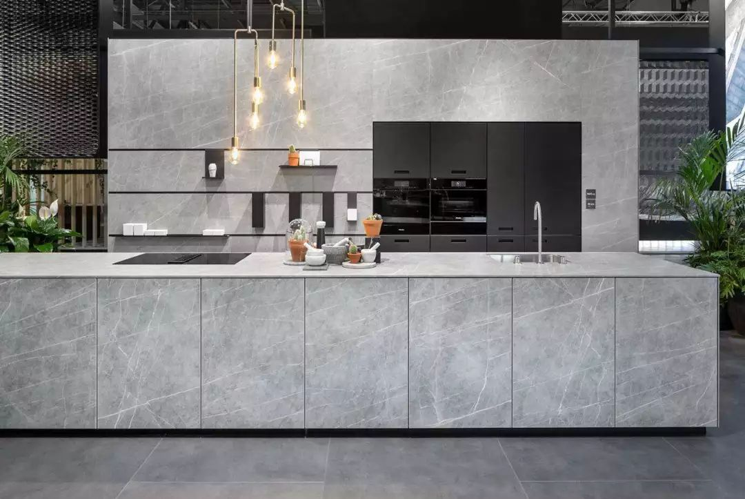porcelain island and wall cladding