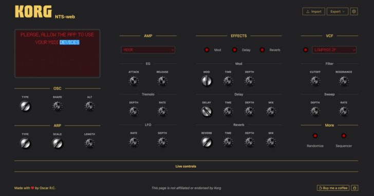 Free Editor & Controller For The Korg NTS-1
