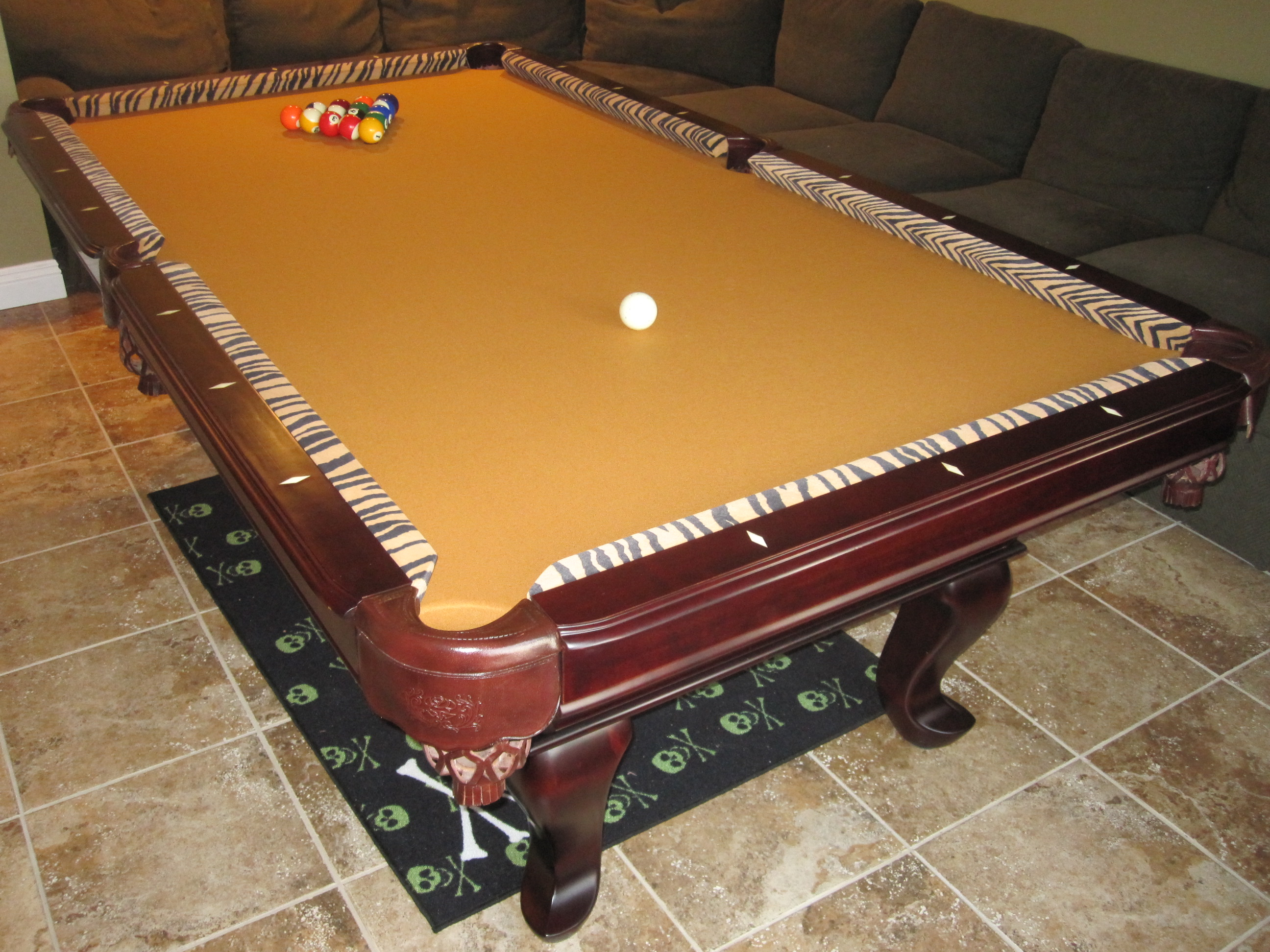 Tiger Striped Pool Table Pool Table Service Billiard Supply - Pool table felt repair near me