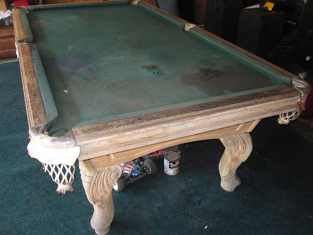 Pool Table Repair Service : Dirty old pool table comes clean service