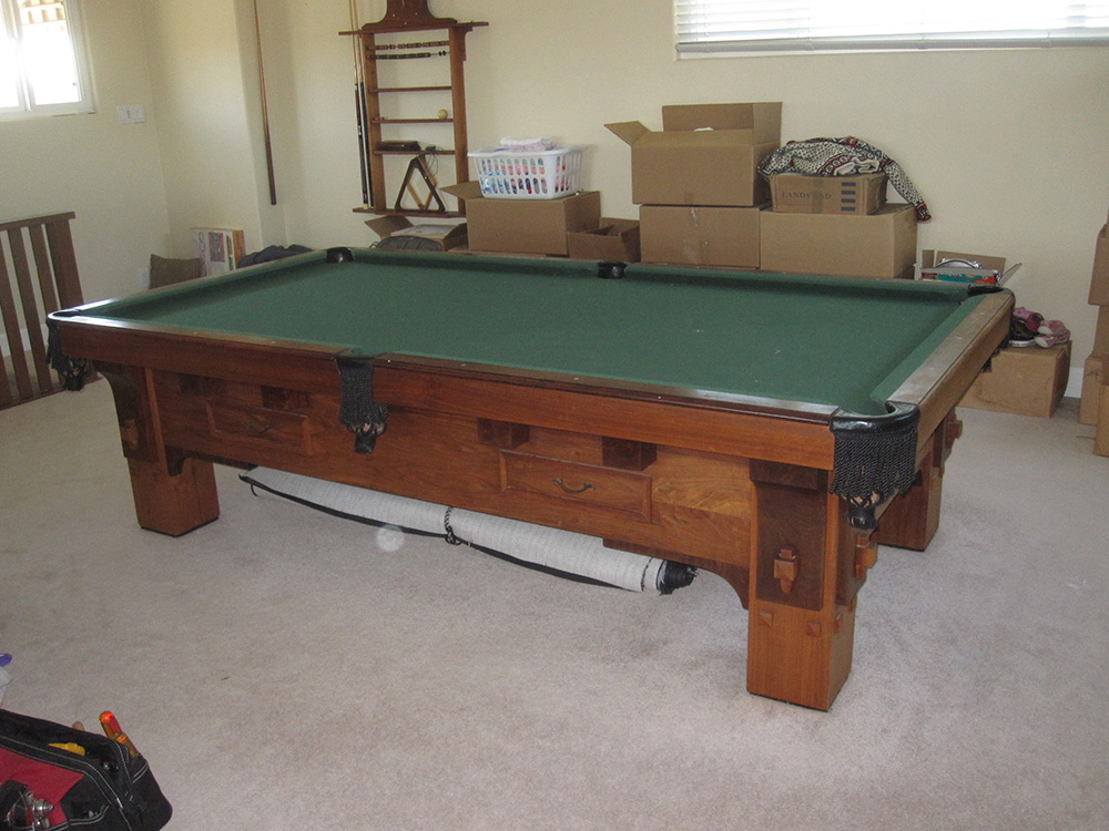 How To Get 1000 lb. Pool Table Downstairs | DK Billiards ...