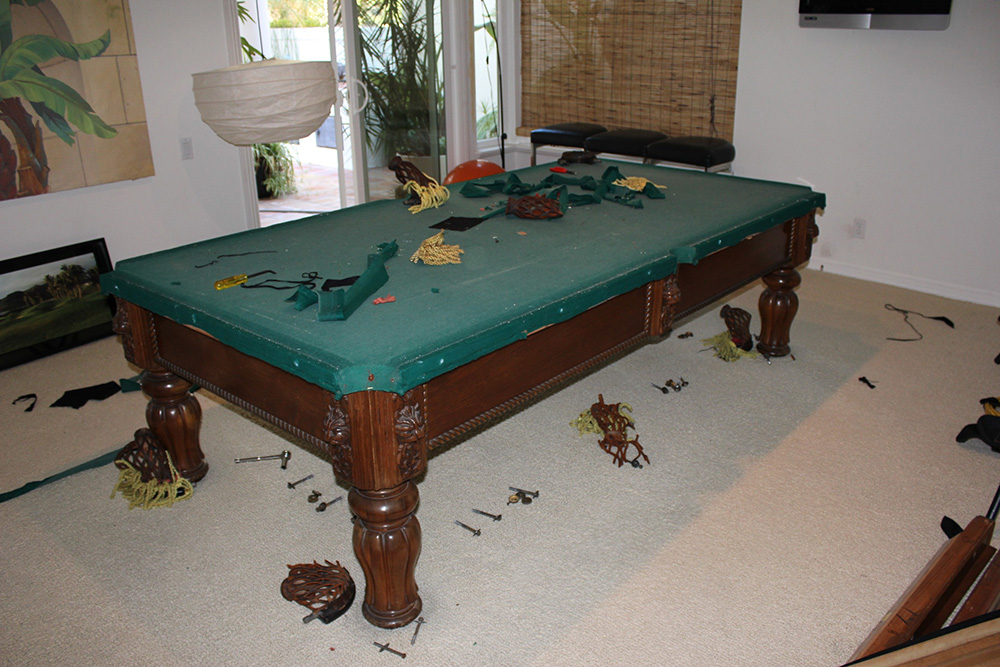 This Is A Recent Pool Table Cloth Recovery Job We Did For Our Clients In  Long Beach, CA. This 1970u0027s Adler U201cVictorianu201d Was In Serious Need Of Some  TLC.