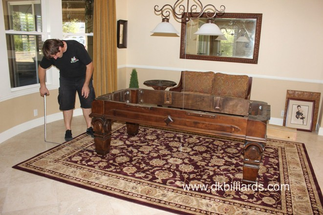 Placing an area rug under a pool table pool table service pool tables can be placed on top of rugs even rugs on top of wall to wall carpet they look nice and frame the space carpet can also dampen the noise of keyboard keysfo Image collections