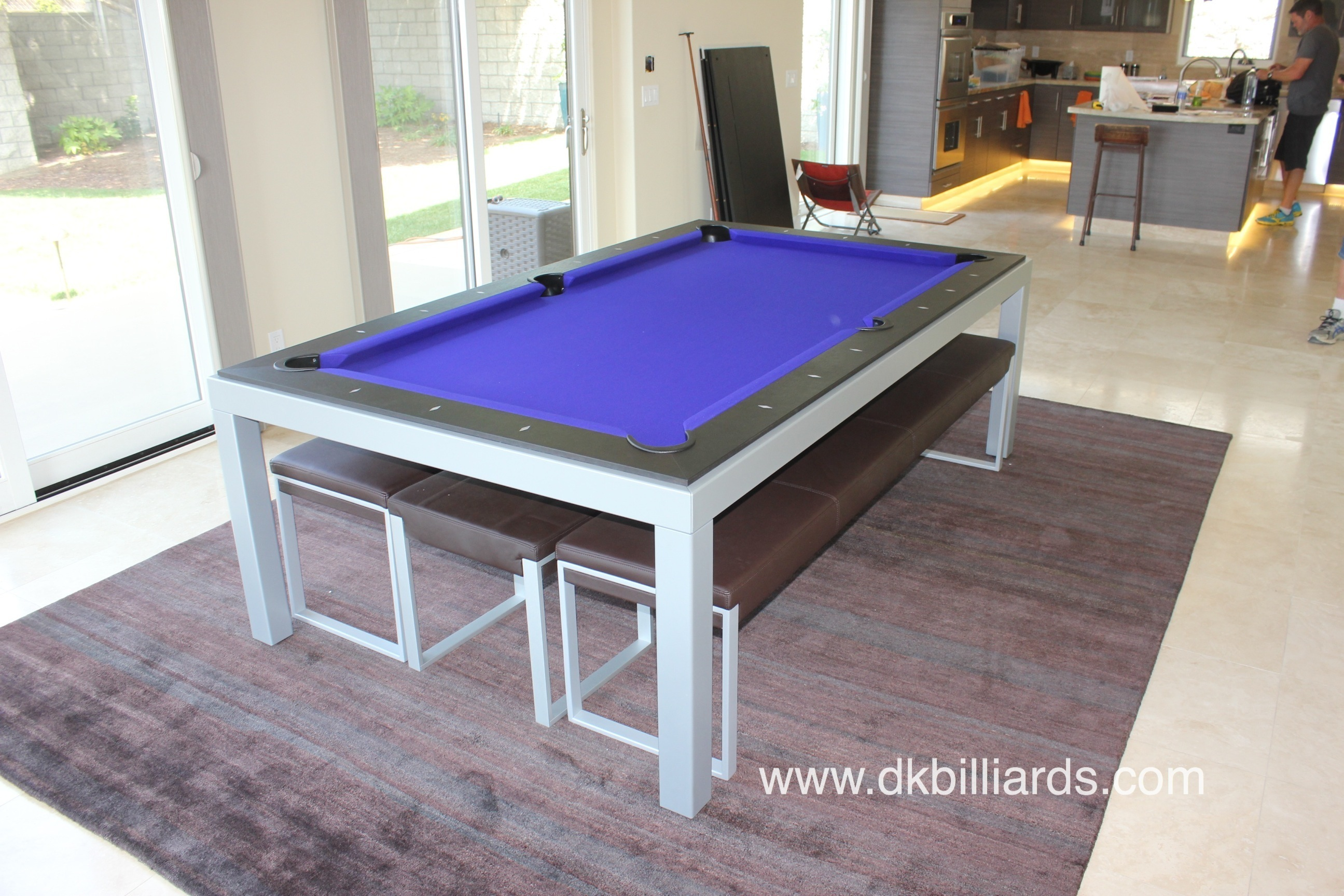 When Used As A Dining Table, The Benches And Stools Will Seat 10 People.  And, When The Wenge Dining Tops Are Off, An Unexpected Bold Purple Felt  Adds Some ...