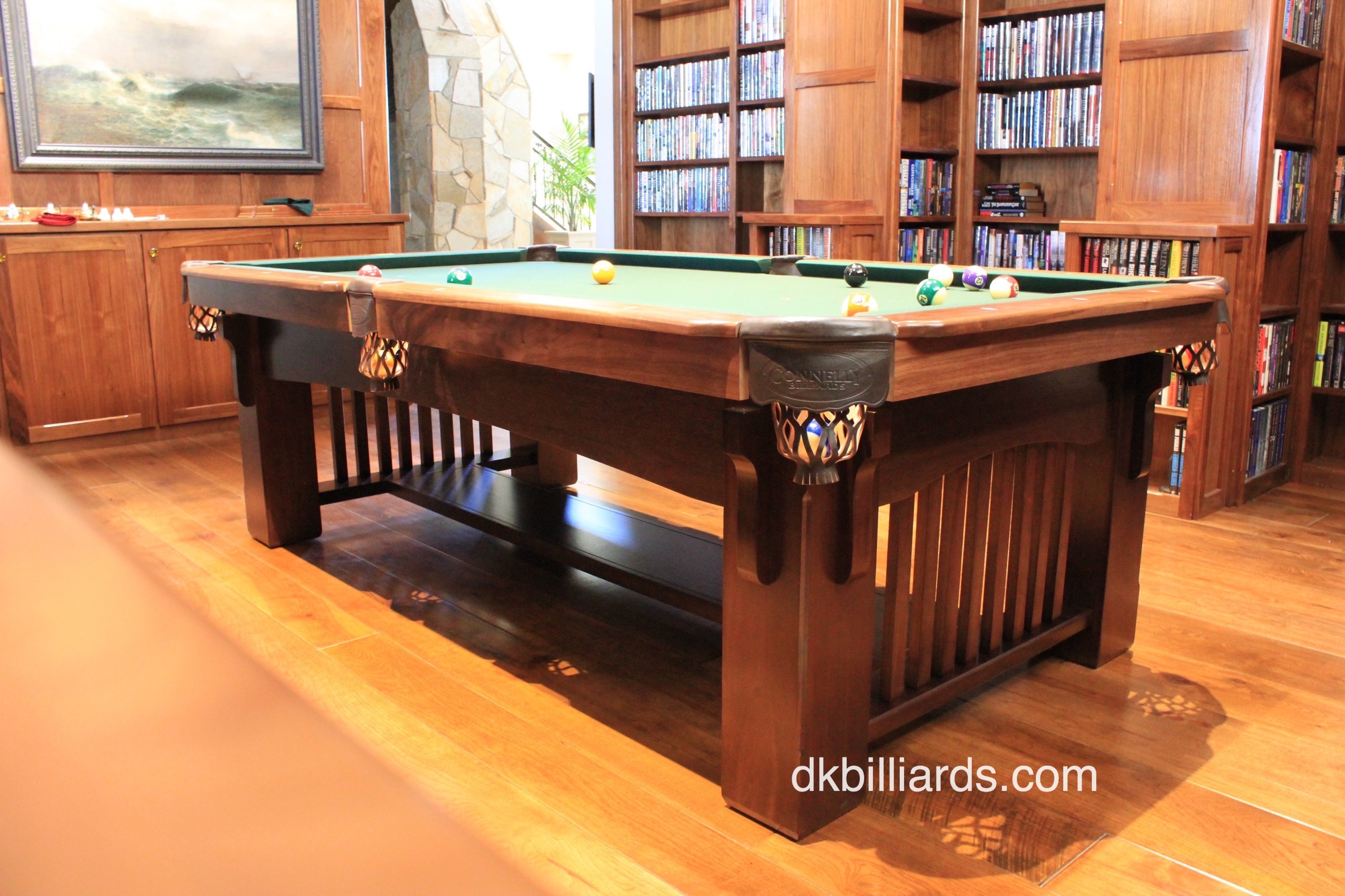 Arts and crafts billiard library pool table service for Oak beauty pool table