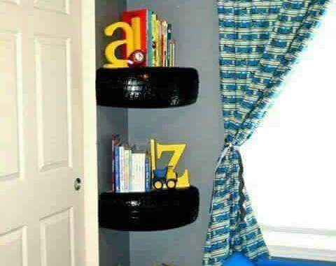 A shelf made out of tires