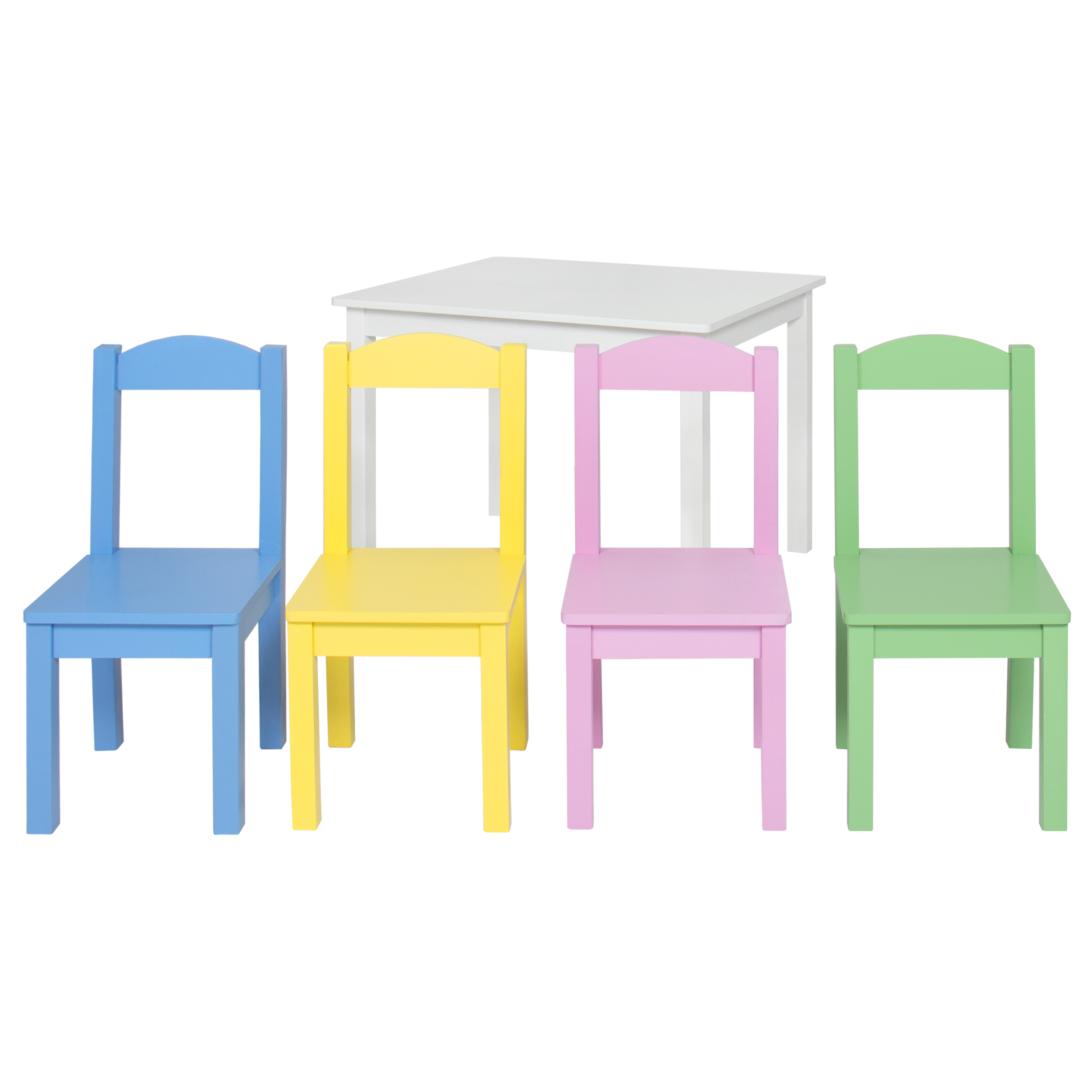 toddler wooden table and chairs swivel chair integration kids 4 set furniture pastel white