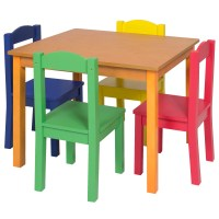 Kids Wooden Table and 4 Chair Set Furniture
