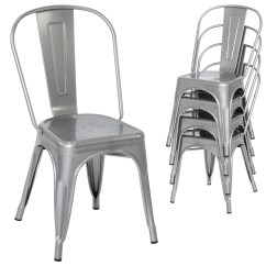 Silver Metal Dining Chairs Vintage Wicker For Sale Set Of 4 Stacking Industrial Style