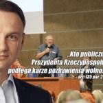 Adam Michnik znieważył Prezydenta RP