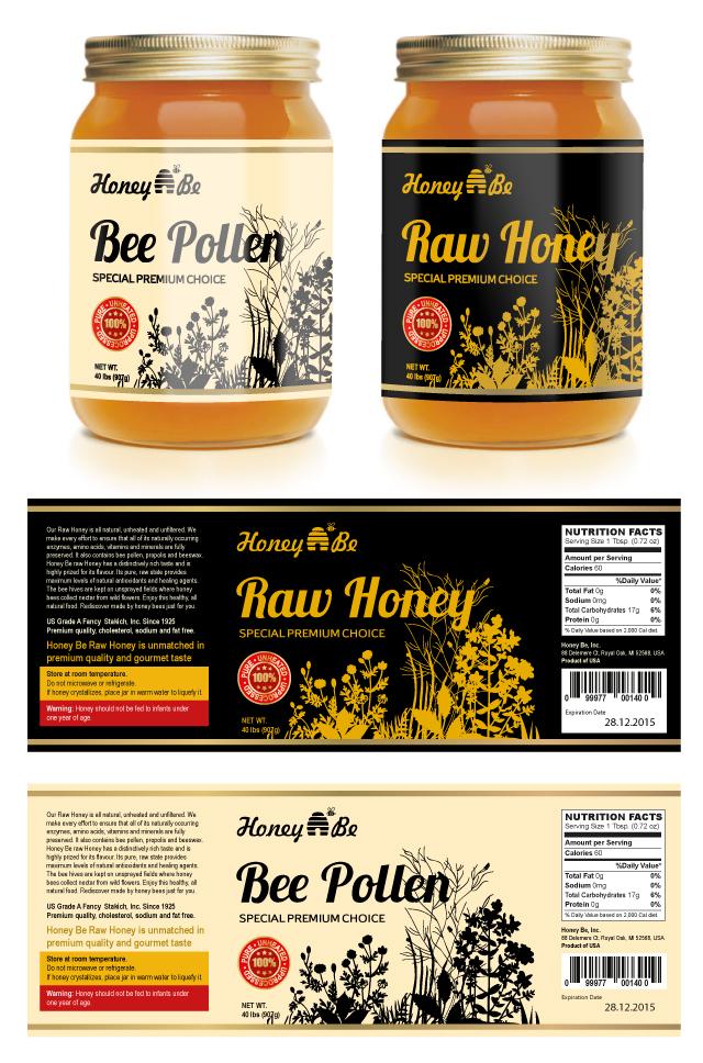 Raw Honey & Bee Pollen Labels Template DLayouts