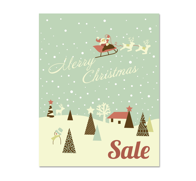 Christmas Deer Sale Poster Template DLayouts Graphic