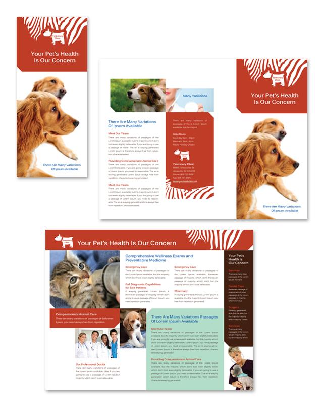 Veterinary Clinic Tri Fold Brochure Template DLayouts