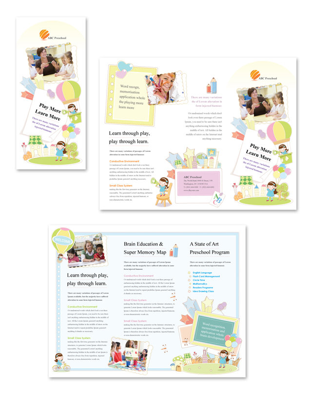 Preschool Tri Fold Brochure Template DLayouts Graphic
