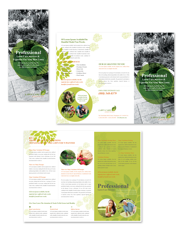 Lawn Care Services Tri Fold Brochure Template