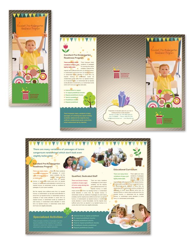 Preschool Education Tri Fold Brochure Template DLayouts