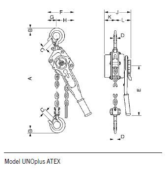 Yale Ratchet lever hoist model UNOplus ATEX Capacity 750