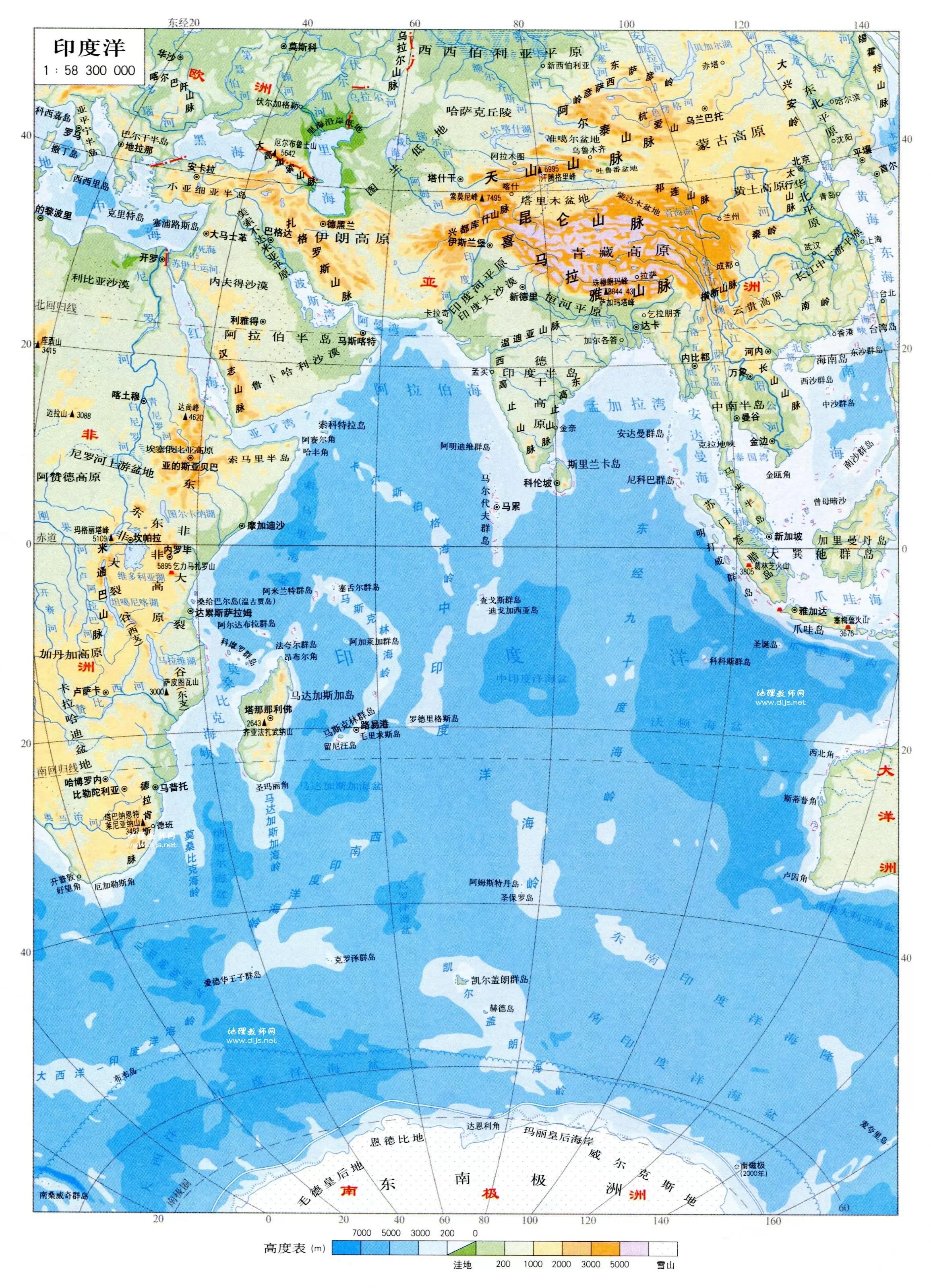 印度洋地圖中文版高清 - 印度洋地圖 - 地理教師網