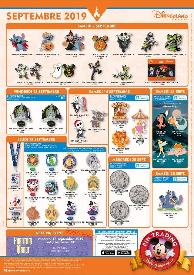Disneyland Paris September 2019 Pin Trading releases