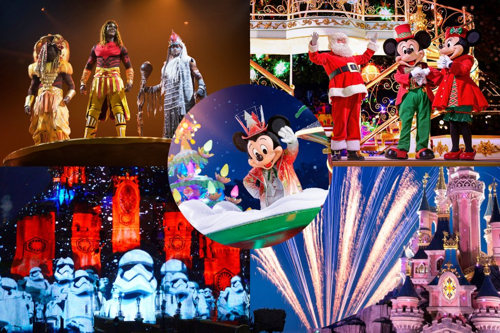 Scenes from The Lion King show, Disney's Enchanted Christmas, Disney Illuminations, Fireworks, Mickey's Dazzling Christmas Parade