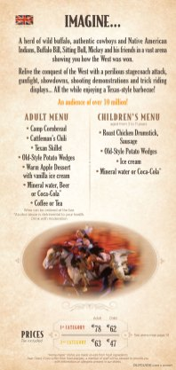 Buffalo Bill's Wild West Show menu