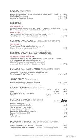 Café Mickey menu