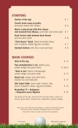 Club House Grill menu