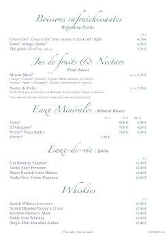 Inventions drinks menu