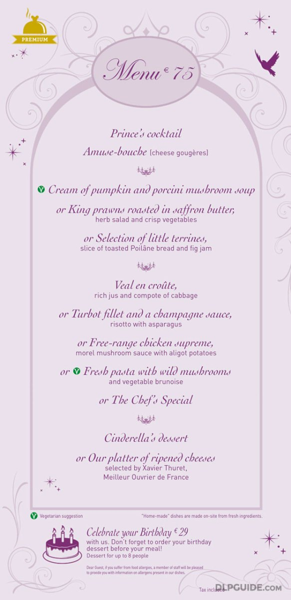 Auberge de Cendrillon menu
