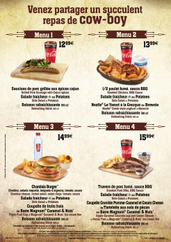 Cowboy Cookout Barbecue menu