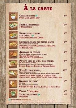 Last Chance Cafe menu