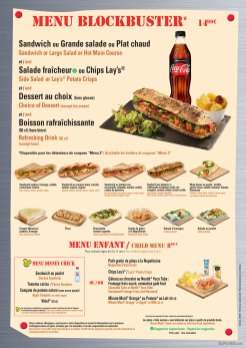 Disney Blockbuster Café menu