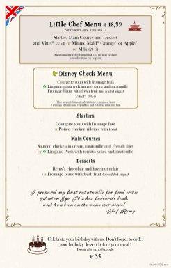Bistrot Chez Rémy menu