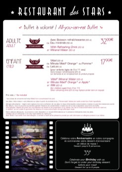 Restaurant des Stars menu