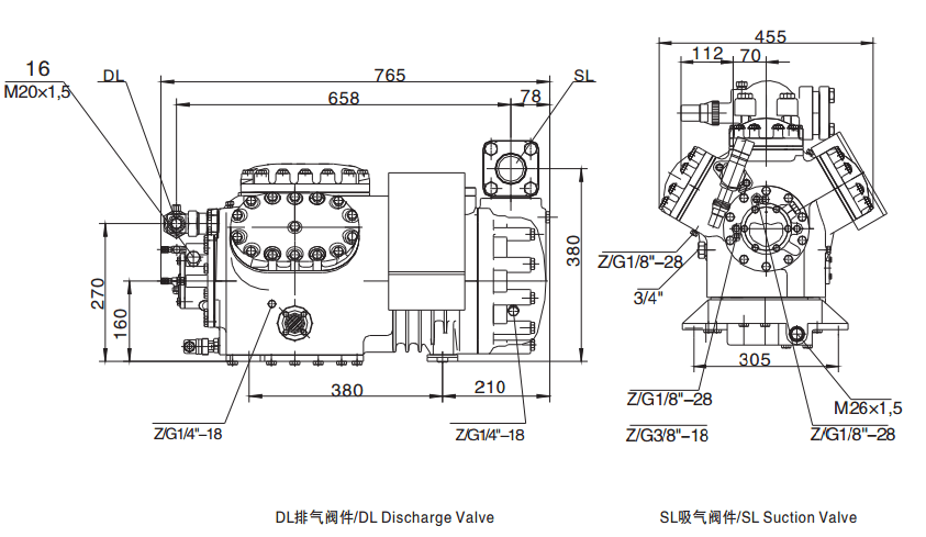Semi-Hermetic Reciprocating Compressor R22 R404A R134A