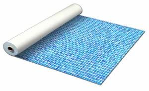 Detailbeeld rol folie mozaiek blauw motief RENOLIT ALKORPLAN 3000
