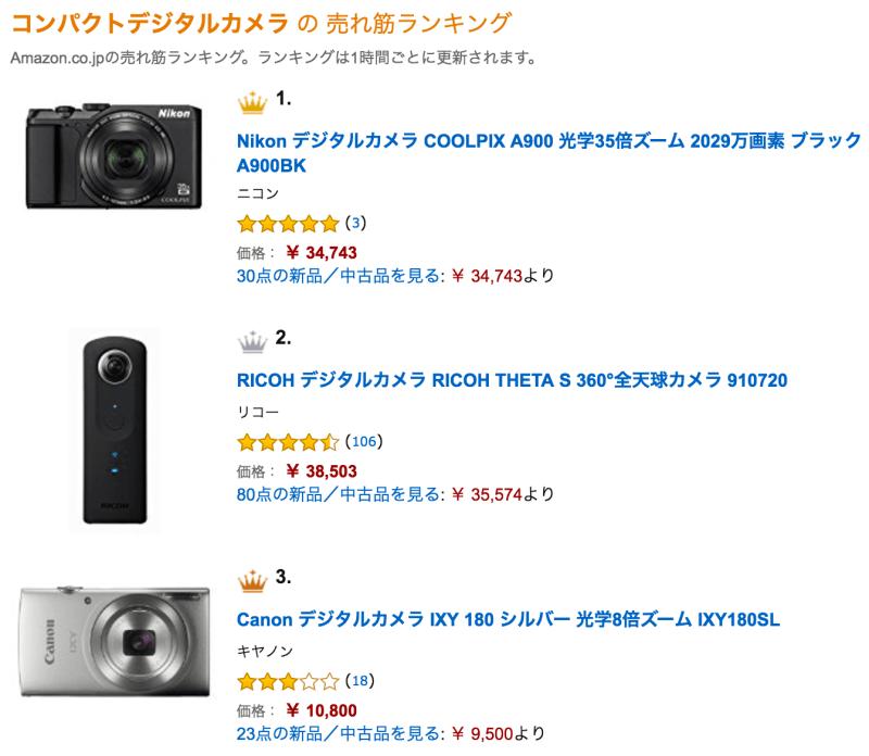 Amazon コンパクトデジタルカメラ の 売れ筋ランキング