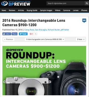 DPreviewが選ぶ2016年レンズ交換式カメラのベストバイ900〜1200ドル部門