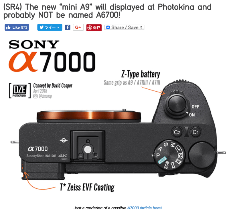 """(SR4) The new """"mini A9"""" will displayed at Photokina and probably NOT be named A6700!"""