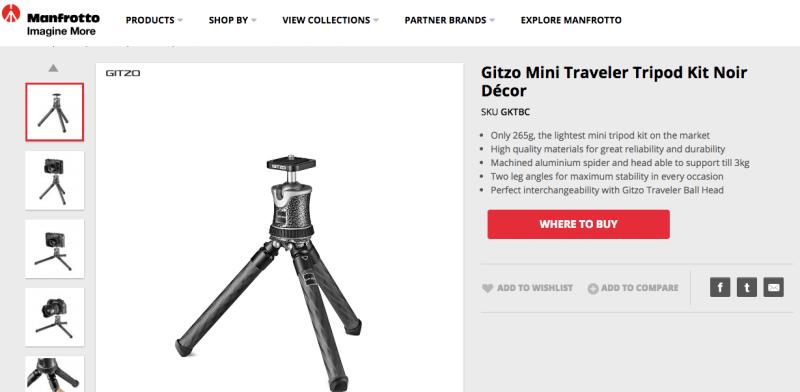 Gitzo Mini Traveler Tripod Kit Noir DécorGitzo Mini Traveler Tripod Kit Noir Décor