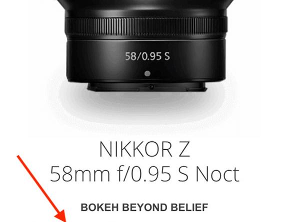 "Nikon USA: Nikkor Z Noct 58mm f/0.95 lens ""coming soon"""