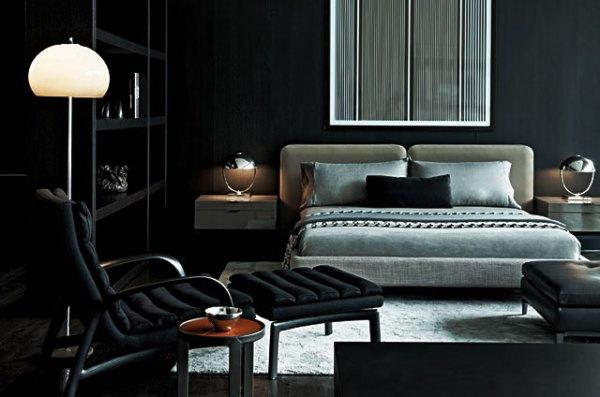 masculine bedrooms black bed Masculine Bedroom 101 - Interior Design Tips