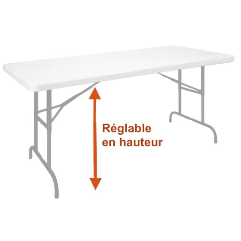 table pliante en plastique a hauteur reglable