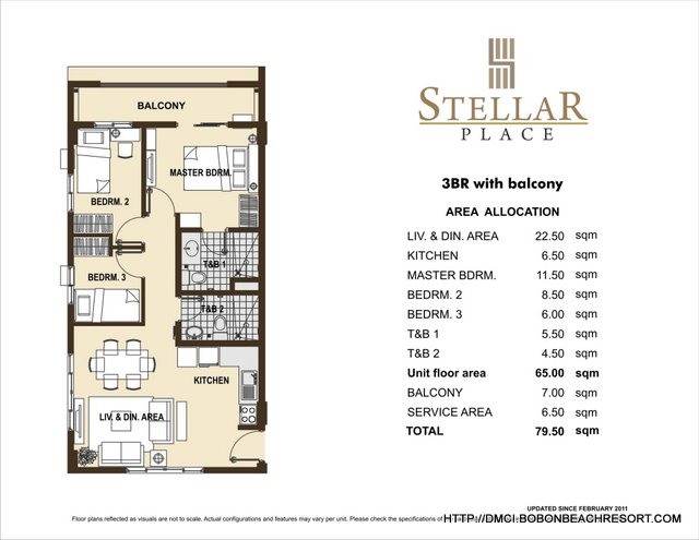 Stellar Place 3 Bedroom Layout