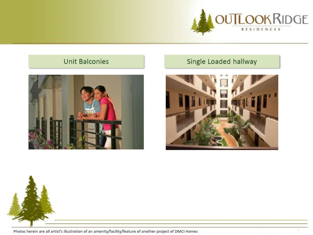 Outlook Ridge Residences Unit Balconies Single loaded hallway