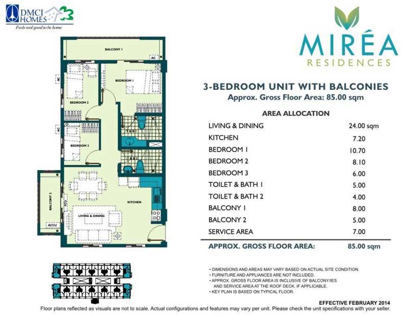 Mirea Residences 3 Bedroom 65 sqm
