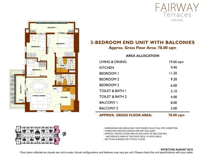 Fairway Terraces 3 Bedroom Layout
