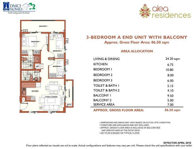 Alea Residences 3 Bedroom Layout