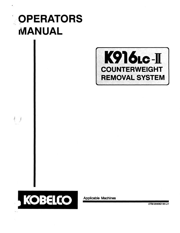 Kobelco English Operators Manuals